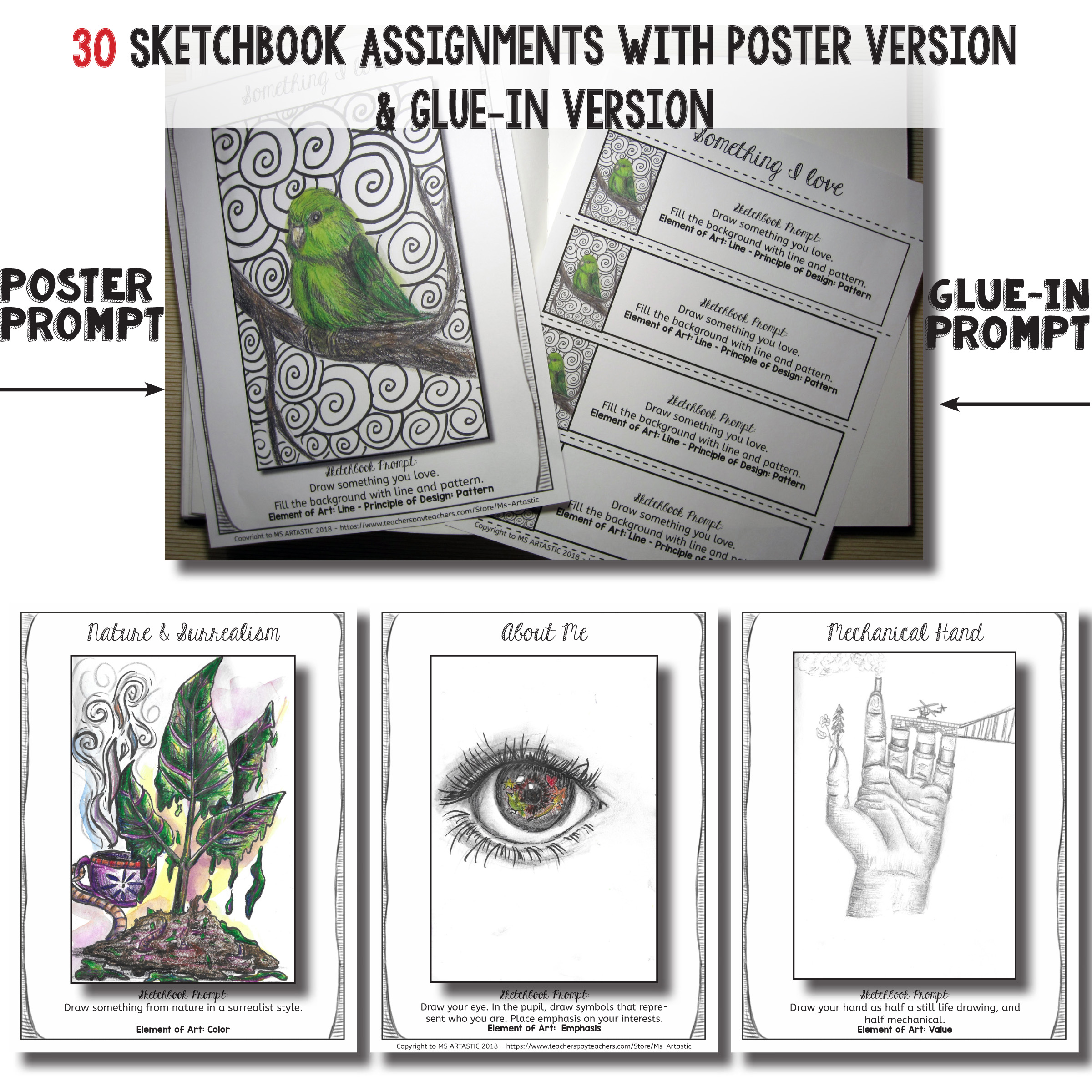 If you're able to set a routine for working on sketchbook assignments, set up expectations of experimentation and quality by using examples of completed sketchbook prompts, and have a unit plan with an aim of what you'll cover, then you should be able to implement sketchbooks into your classroom in a meaningful way.