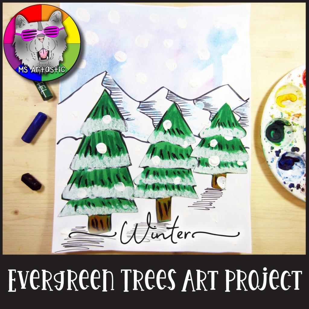 Learn how to create this Winter Art Project in your classroom for FREE with the FREE Downloadable PDF that includes all the tools and steps that you need to not only teach the lesson, but display it too. Students will use paint, paper, and pastel to create this FREE Winter Evergreen Art Project.