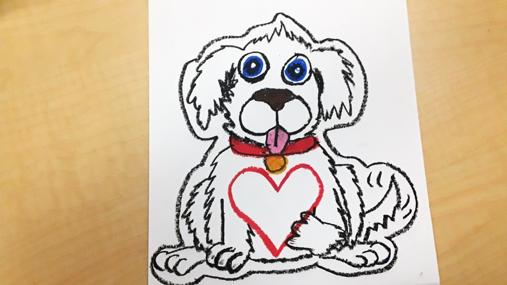 Teaching Art to Kids leading up to Valentine's Day can be fun! Here is an art project tutorial that teaches elementary students how to create a Valentine's puppy using oil pastels and paint. Teach how to use a variety of art mediums with this quick and easy art activity that will have kids making a fun illustration. Perfect teaching resource for grade 4 and grade 5 students. #valentinesday #valentinescraft #valentinesdayart