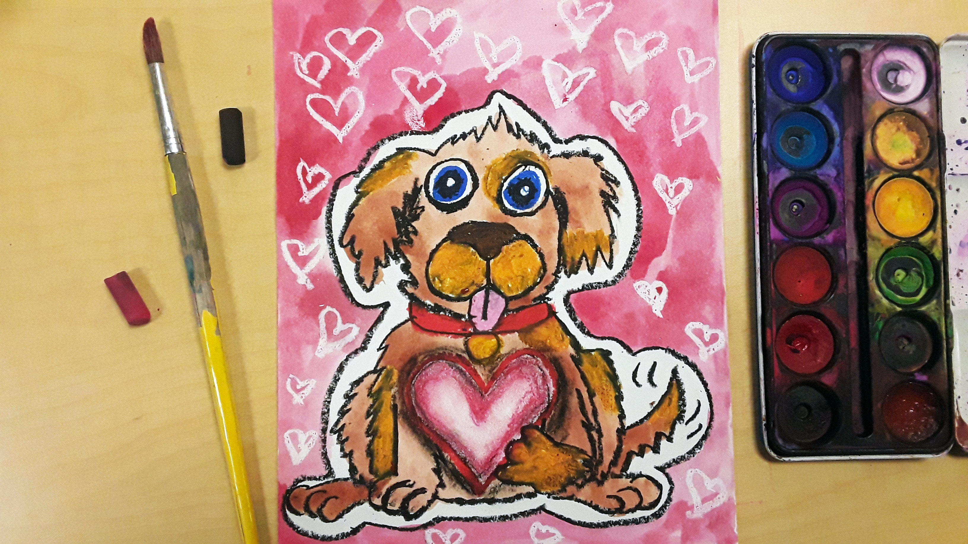 Valentines Day Art Project Tutorial for Kids: Valentines Puppy